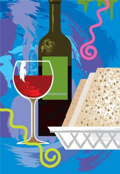 wine cups and bottles vector