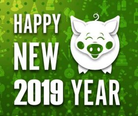 2019 Pig year green background vectors