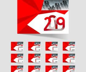 2019 calendar red template vector material