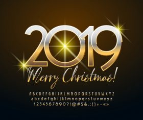 2019 christmas text with alphabet design vector 02