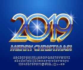 2019 christmas text with alphabet design vector 04