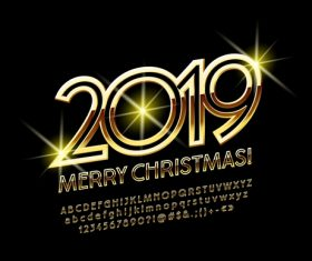 2019 christmas text with alphabet design vector 05