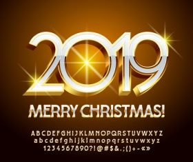 2019 christmas text with alphabet design vector 06