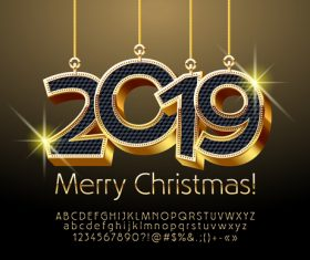 2019 christmas text with alphabet design vector 07