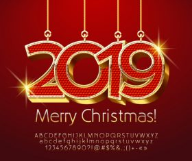 2019 christmas text with alphabet design vector 09
