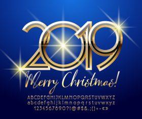 2019 christmas text with alphabet design vector 10