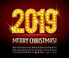 2019 christmas text with alphabet design vector 11