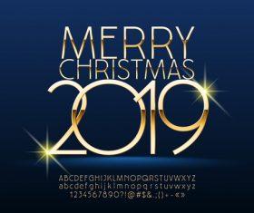 2019 christmas text with alphabet design vector 12