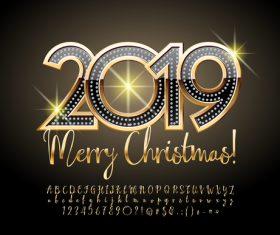 2019 christmas text with alphabet design vector 13