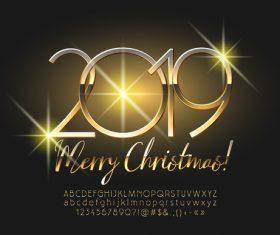 2019 christmas text with alphabet design vector 14