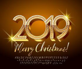 2019 christmas text with alphabet design vector 15