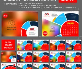 2019 desk calendar template vector material 01