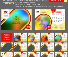 2019 desk calendar template vector material 02