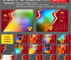 2019 desk calendar template vector material 03