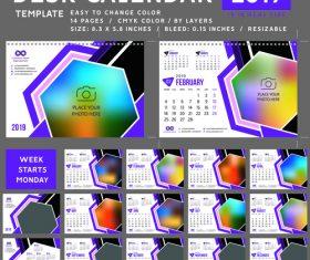 2019 desk calendar template vector material 04
