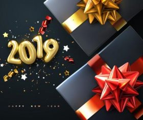 2019 new year background with gift boxs vector