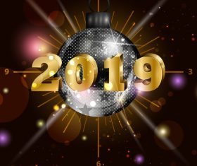 2019 new year background with neon ball vector