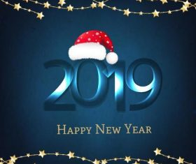2019 new year blue background with star decor vector