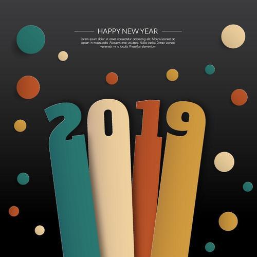 2019 new year creative vectors background design