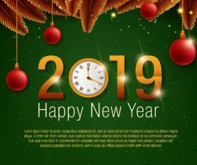 2019 new year design clock background vector
