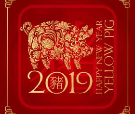 2019 new year of thd pig chinese styles vector design 01