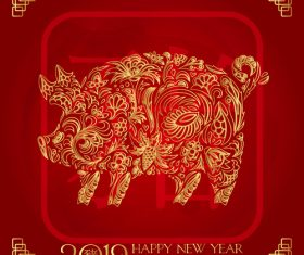 2019 new year of thd pig chinese styles vector design 02
