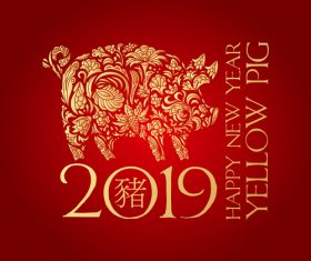 2019 new year of thd pig chinese styles vector design 03