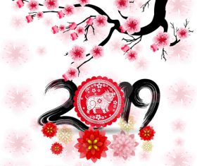 2019 new year of the pig year with pink flower design vector 01