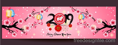 2019 new year of the pig year with pink flower design vector 02