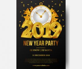 2019 new year party flyer with poster vector template