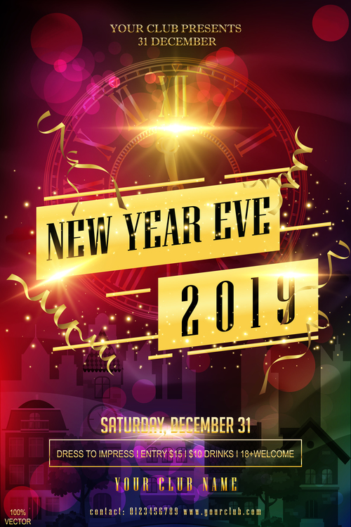 2019 new year party poster with flyer template vector 03 free download