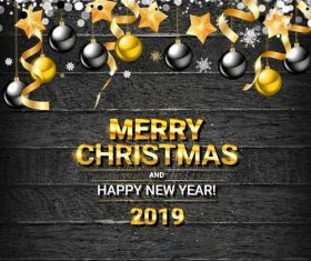 2019 new year with christmas design and wood wall vector