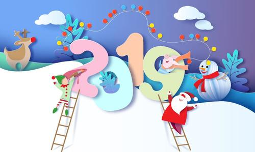 2019 new year with christmas paper cut vectors design