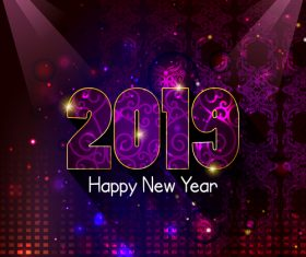 2019 new year with purple party background vector