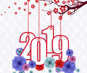 2019 new year with red flower design vector