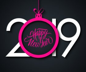 2019 pink white festive inscriptions design vector