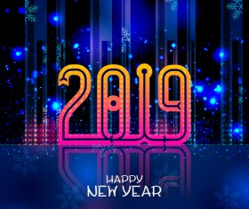 2019 yew year with city night background vector