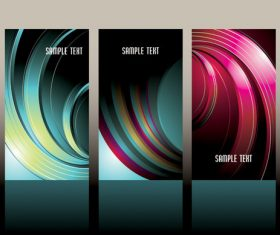 3 abstract wave vertical banners vector