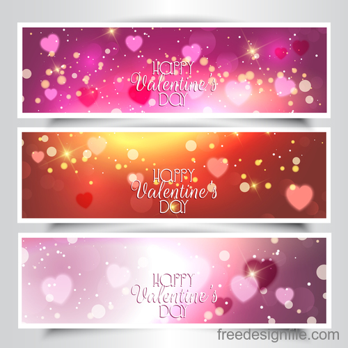 3 kind valentines day banners template vector