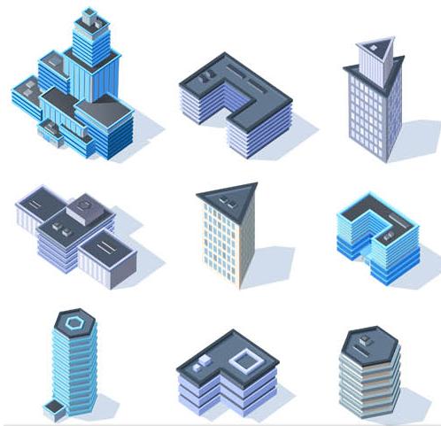 3D Buildings Set 2 vector