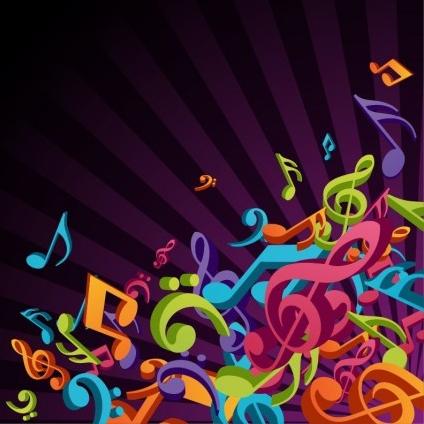 3D Colorful Music Background design vectors