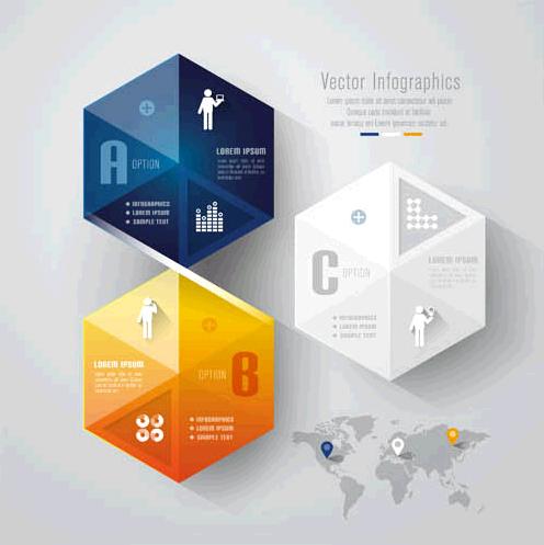 3D Infographics Backgrounds 4 vector