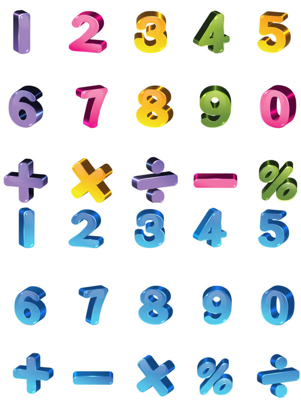 3D colored alphabet with number vector