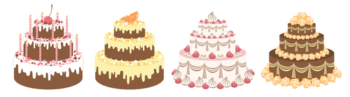 4 Kind cakes vector set