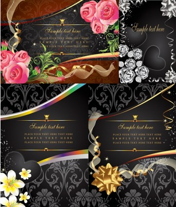 4 money flowers card vector design