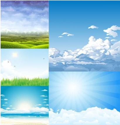 5 beautiful sky theme vectors