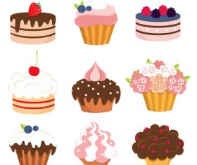 9 Kind cup cakes illustration vector