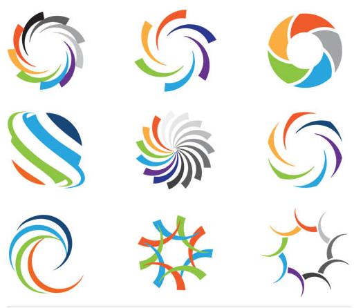 Abstract Bright Logo Set vector set