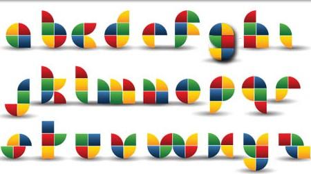 Abstract Color Alphabet vector