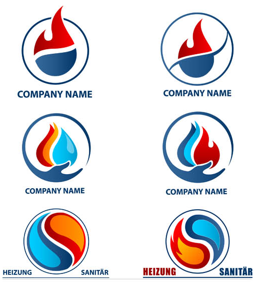 Abstract Fire Logotypes vector